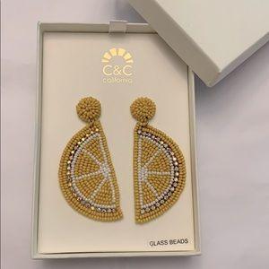 NWT and box! Eye catching lemon wedge earrings!